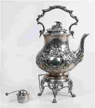 English sterling teapot on stand