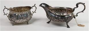 18th c. sterling creamer with sugar bowl