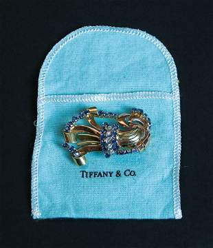 Sapphires and diamonds Tiffany brooch