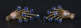 Earrings with diamond and sapphires