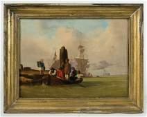 Oils on board port scene and men toting barrel