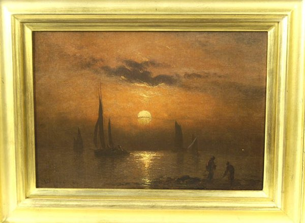 2: 19th c. oil on canvas, sunrise scene with two figure