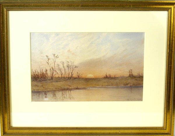 3: 20th c. watercolor on paper, sunrise scene, landscap