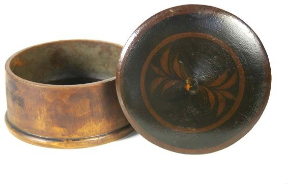 4: 19th c. maple treen decorated sugar bowl, turned, ro