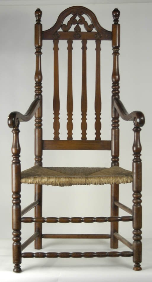 5: 18th c. bannister back armchair, foliate carved cres