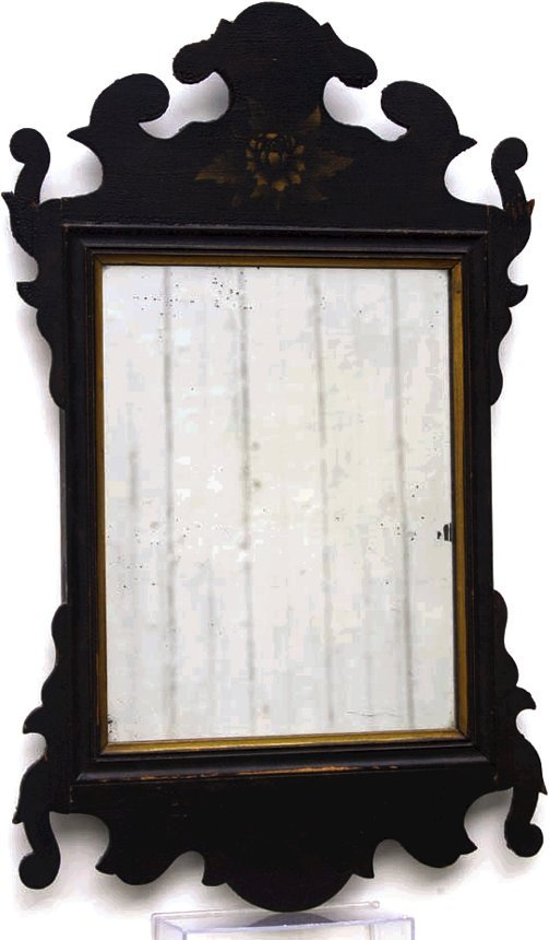 6: 19th c. Chippendale style mirror, in original red an