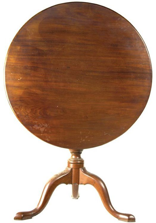 10: 18th c. New England mahogany tiptop tea table, roun