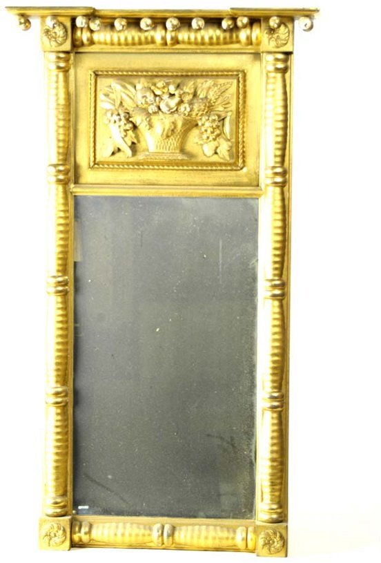 12: Early 19th c. gilt decorated looking glass, split b