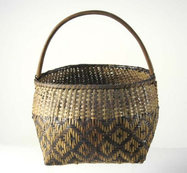 19: 19th c. Cherokee hoop handled basket, red, brown an