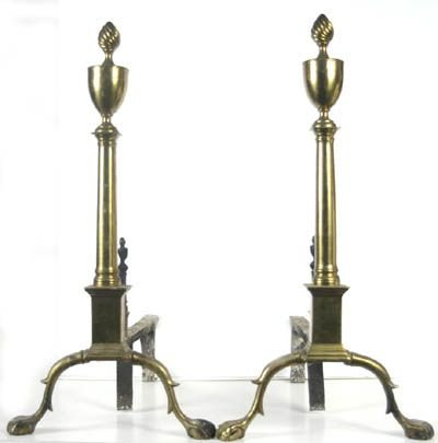 23: Rare pair of 18th c. brass, flame finial, claw and