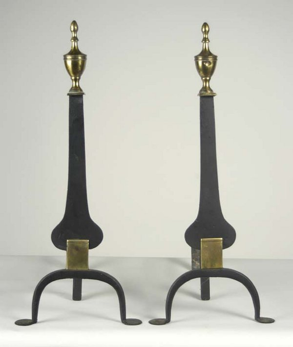 24: Very fine 18th c. wrought iron and brass andirons,
