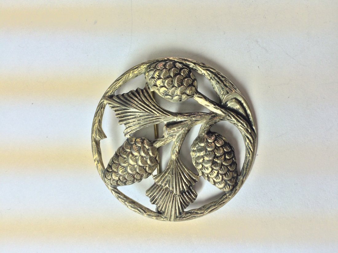 sterling silver circular brooch with acorn and leaf