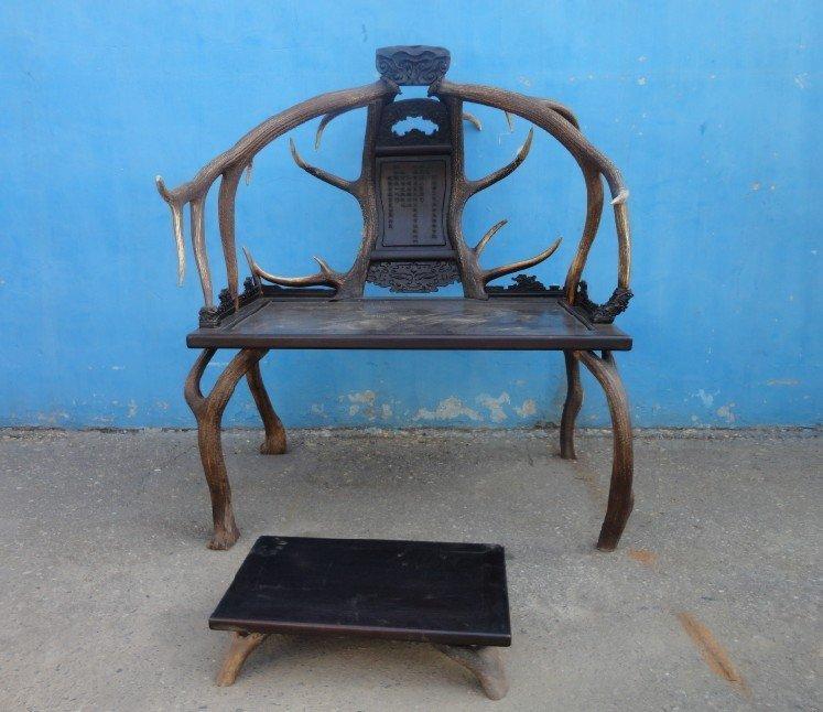 Lobular rosewood inlaid chair Antlers
