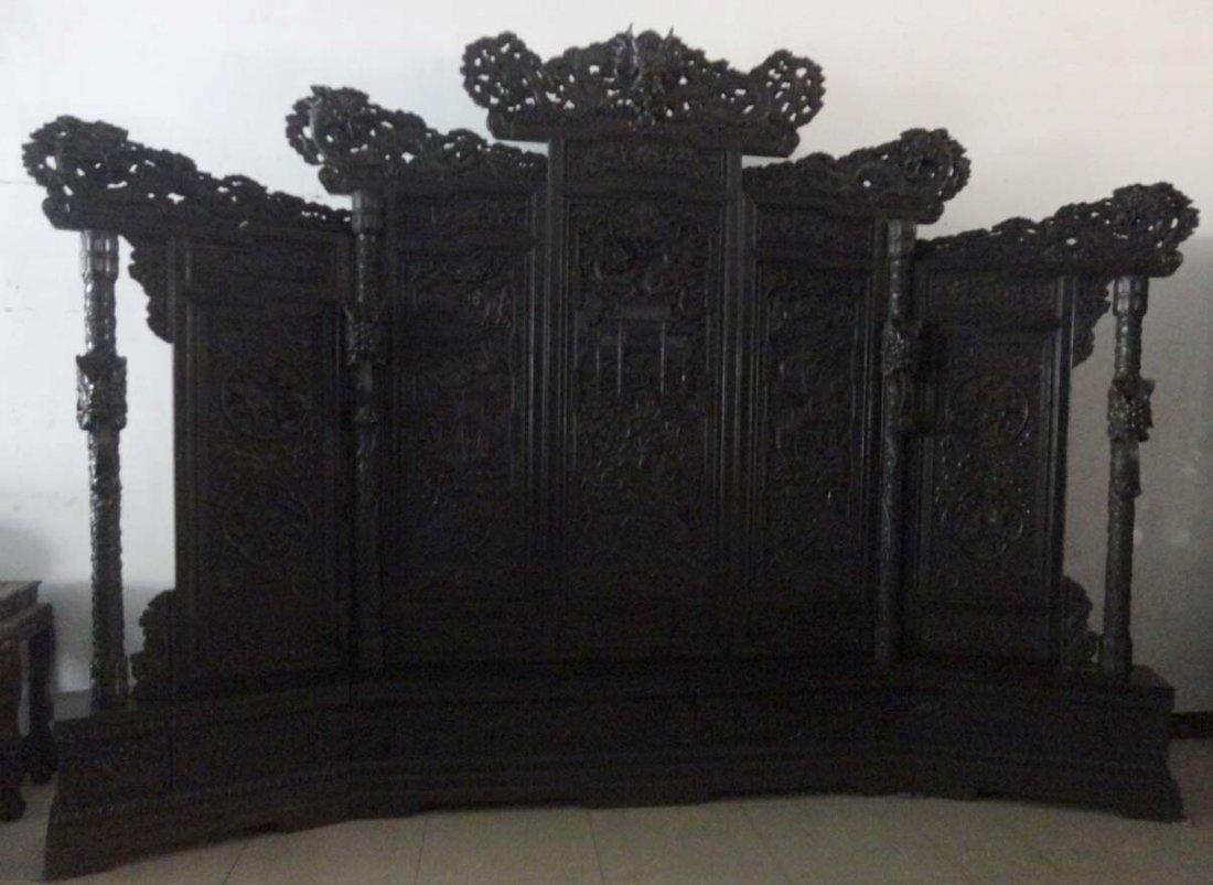Rosewood Carving Dragon Screen