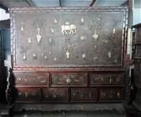 Qing Dynasty huanghuali mosaic multi-gem Big Screen