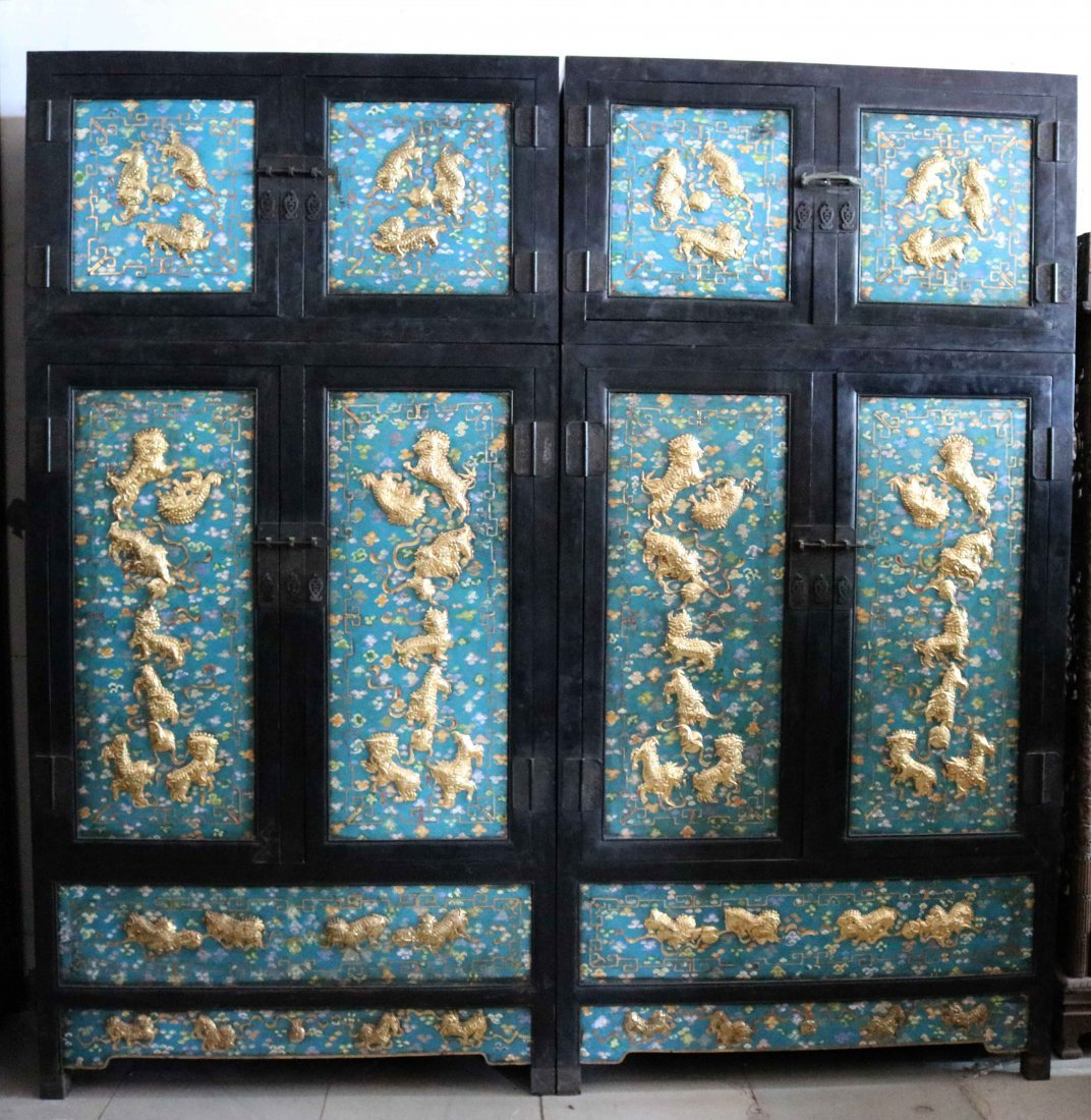 Qing Dynasty cloisonne inlaid rosewood top cabinet