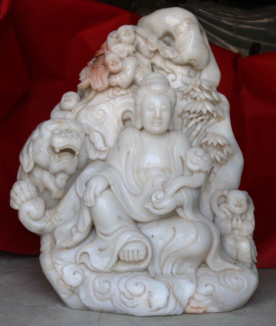 Hetian jade carving Guanyin  Buddha