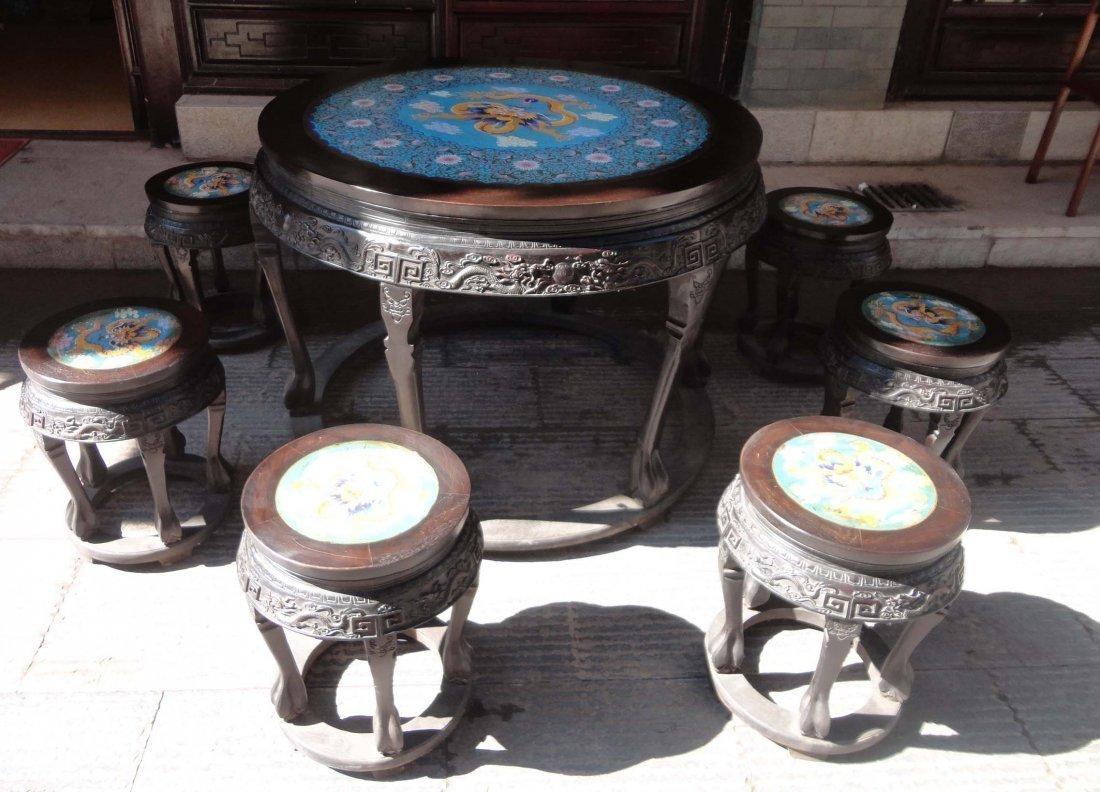 sandalwood inlaid filigree enamel round table