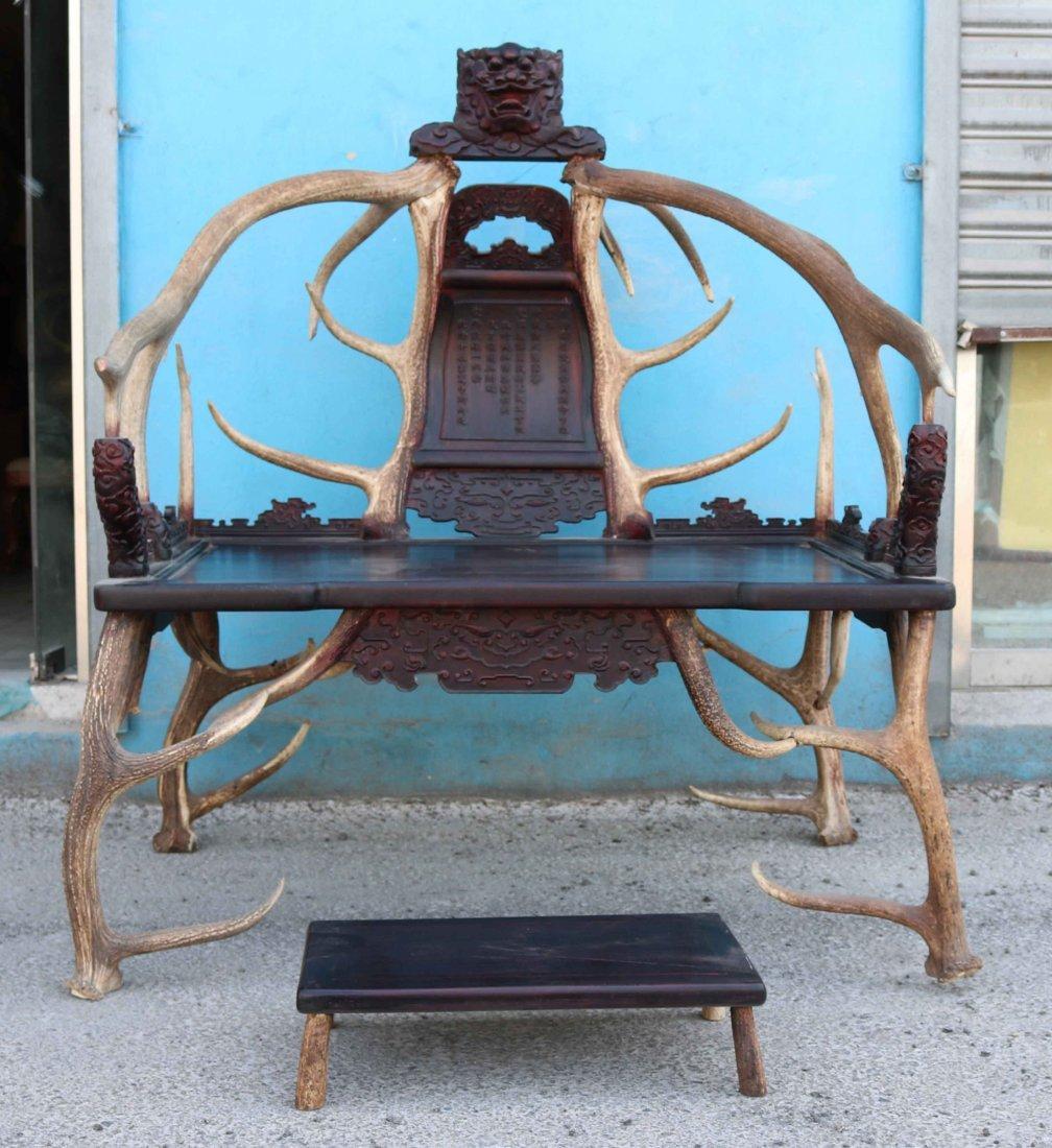Lobular red sandalwood antlers chair