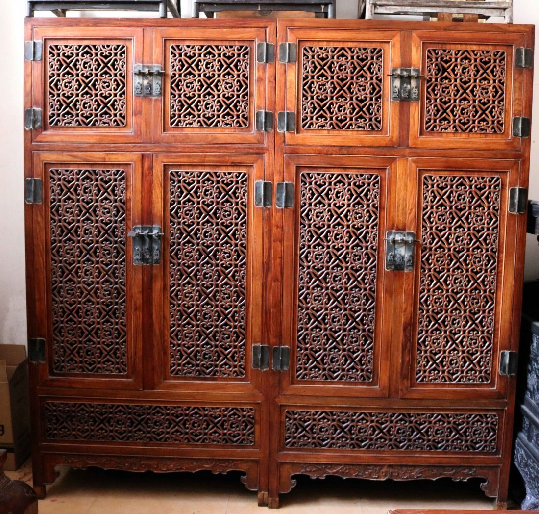 China huanghuali Hollow sculpture Videos cabinet
