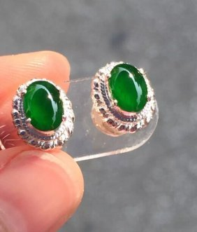 Old Crater Material Emerald Jade Earring