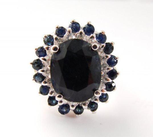 Blue Sapphire Diamond Ring 8.97Ct 14k White Gold