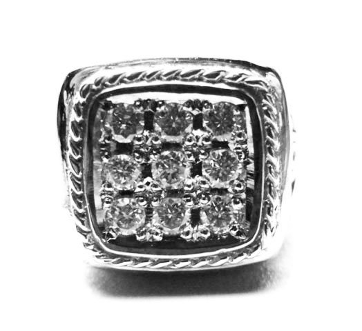 Antique Men Diamond Ring 1.08Ct 14k W/g SZ 9