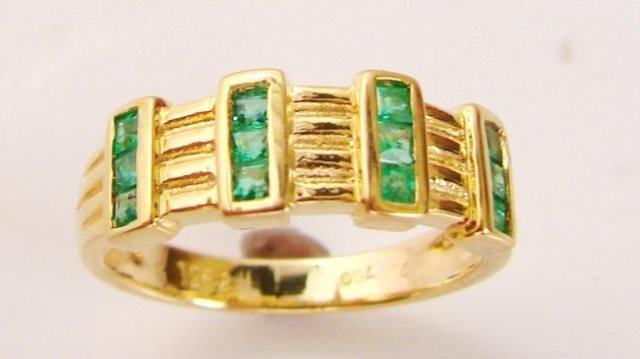 Emerald Princess Ring .63Ct 18k Yellow Gold