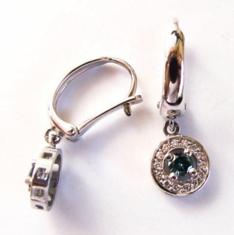 Blue- White Dia: Earrings Dangle 1.16 Ct 14k W/g