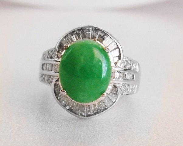 Burma Jade/Diamond Ring 5.35Ct 18k W/g Size 7