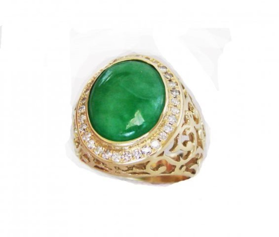 Man's Burma Jade/Diamond Ring 8.76Ct 18k Y/g Size 8