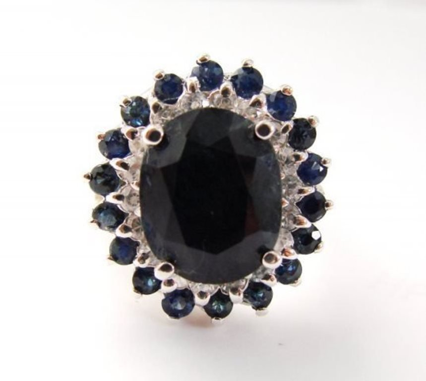Blue Sapphire Diamond Ring 8.97Ct 14k White Gold