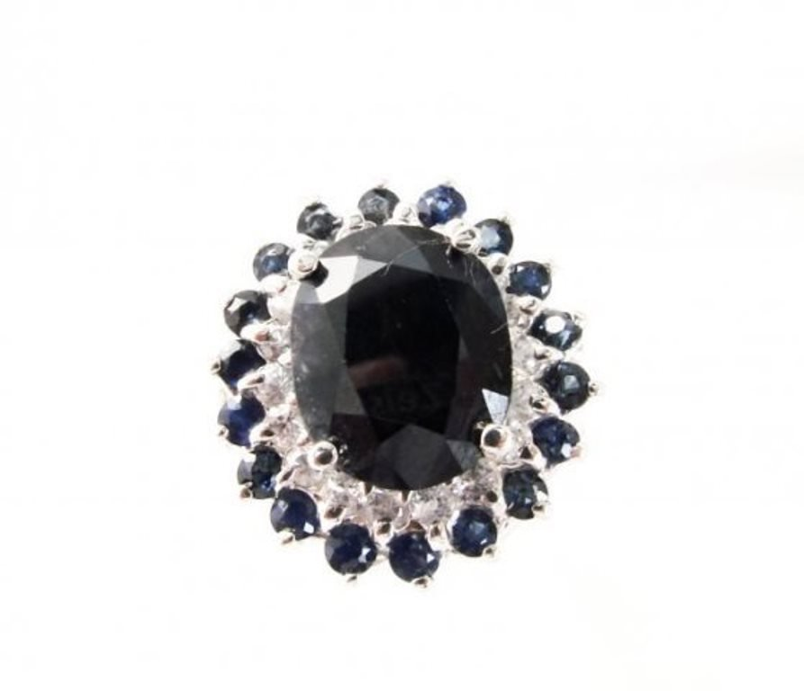 Blue Sapphire Diamond Ring 8.97Ct 14k White Gold - 2