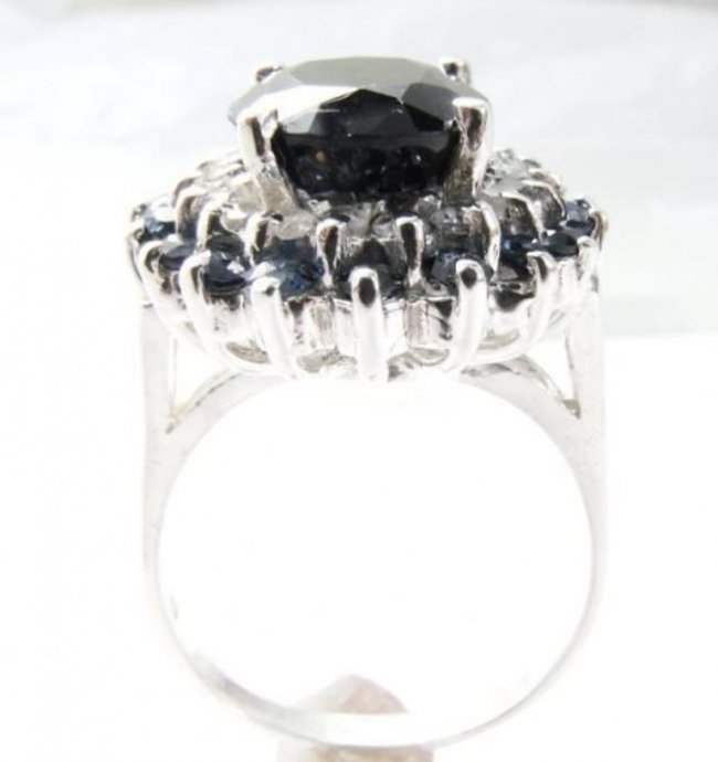 Blue Sapphire Diamond Ring 8.97Ct 14k White Gold - 3
