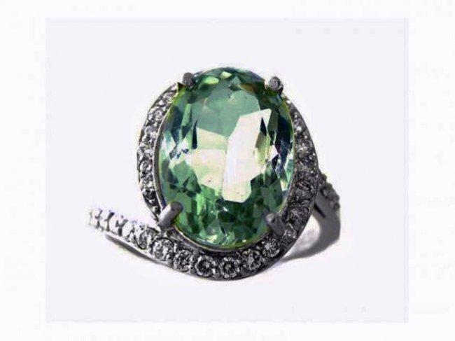Green Amethyst Diamond Ring 10.20Ct 14k W/g