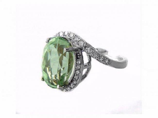 Green Amethyst Diamond Ring 10.20Ct 14k W/g - 2