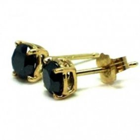 Black Diamond Stud Earrings 1.42ct 14k Y/g