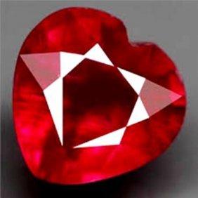 Loose Ruby Heart Shape 1.53ct 7.3x7.2x3.6 Mm