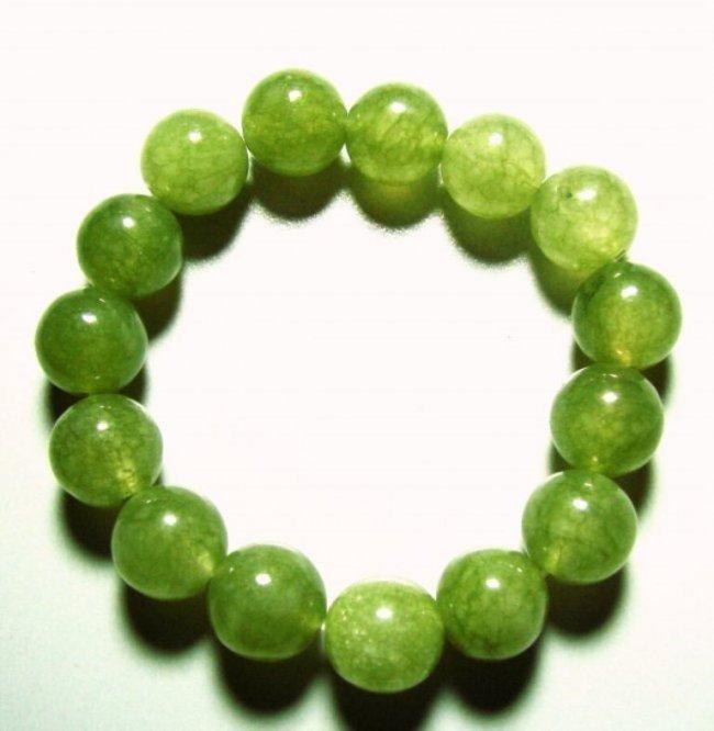 Natural Jadeite Jade Bead Green Bracelet Grade: 2B