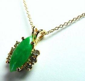 Natural Jade Pendant & Diamond .25ct 14k Y/g