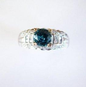 Blue Zircon:1.35ct & Diamond: .41ct Ring 18k W/g