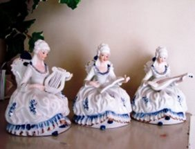 Vintage Porcelain Victorian Three Lady Playing Music