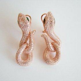 Creation Diamond Snake Earrings 6.57ct 18k R/g Overlay