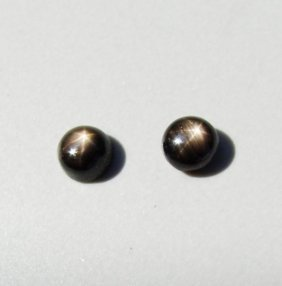 Natural Black Star Sapphire Pairs Round Cabochon 2.40ct