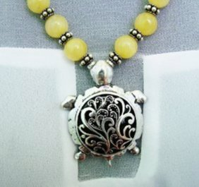 Natural Yellow Jade Bead Necklace With Stainless