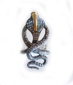 Cobra Snake Figure Diamond Ring 1.35ct 14k Two-tone