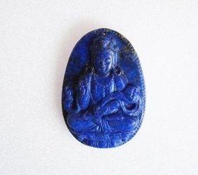 Loose Pendant Carved Guanyin Lapis Lazuli 123.50ct