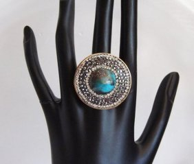 Natural Turquoise Ring 8.36 Ct 18k Two-tone Overlay