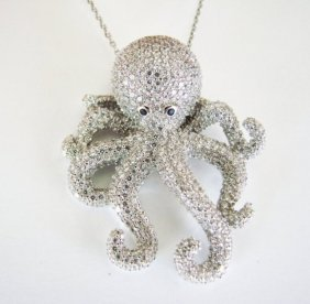 Creation Diamond Octopus Pendant 4.42ct 18k W/g Overlay
