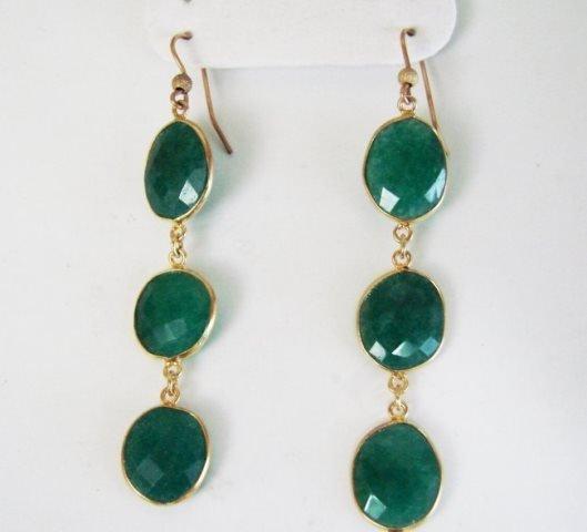 Emerald Earrings Dangle 20.44Ct 18k Y/g Overlay